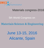 5th World Congress on Materials Science and Engineering at Alicante, Spain during 2016 June 13-15